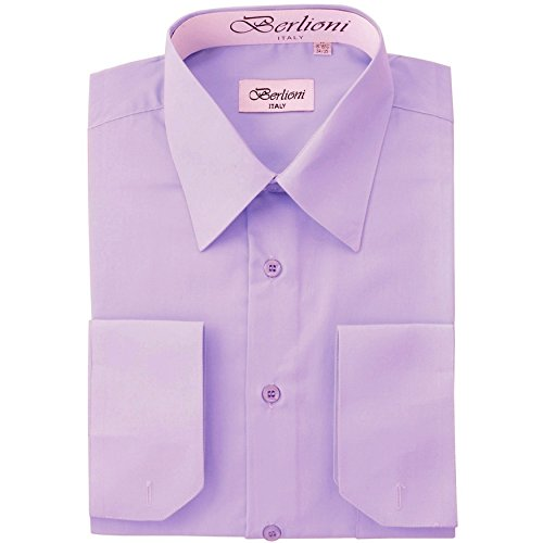 (Berlioni Men's Dress Shirt - Convertible French Cuffs - Lilac, 3X-Large (19-19.5), 36/37 Sleeve)