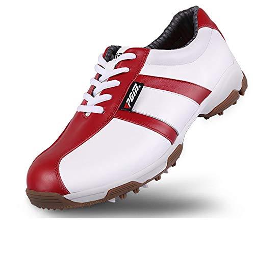 ナチュラルレザーゴルフプロフェッショナルスニーカー、通気性ライト252g、夏レディースゴルフシューズ、適切なゴルフ屋内と屋外コース、快適、実用的 UKEU36 Red B07PT3ZL3N