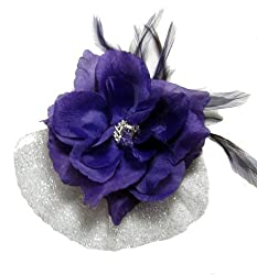 Purple and Silver Rose with Veil and Feathers Hair Flower Clip and Pin