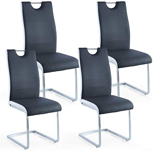 Paddie Dining Side Chairs Set of 4 High Back Modern PU Leather