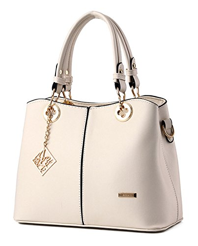 Tibes Fashion PU Leather Handbag Satchel for Women Beige
