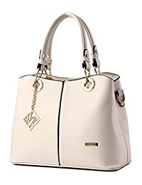 Tibes Fashion PU Leather Handbag Satchel for Women Beige