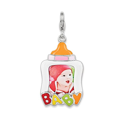Enameled Picture Frame Pendant - ICE CARATS 925 Sterling Silver Enameled Baby Picture Frame Lobster Necklace Pendant Charm Fine Jewelry Ideal Gifts For Women Gift Set From Heart