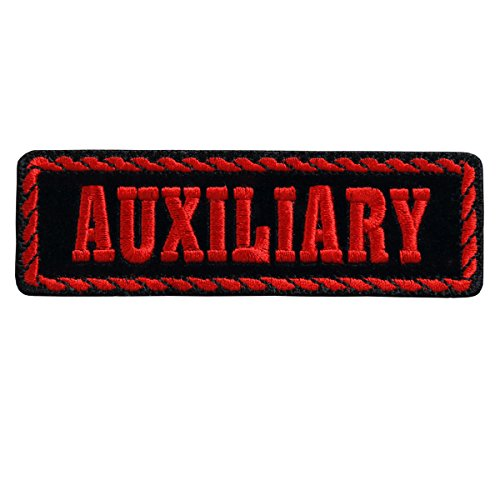 Auxiliary Patch - Hot Leathers, RED OFFICER AUXILIARY, Embroidered Iron-On / Saw-On Rayon PATCH - 4