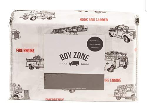Boy Zone Vintage Fire Engine Trucks Black Red Sheet Set (Twin) ()
