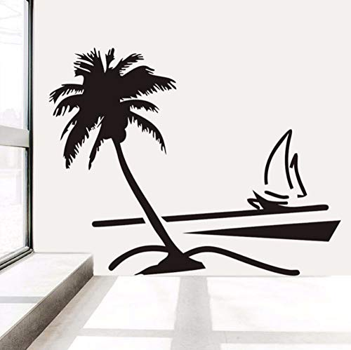Dalxsh Coconut Palm Tree Wall Decals Vinyl Hawaii Style Wall Stickers Sailboat Living Room Home Decor Waterproof Wallpaper Decal -