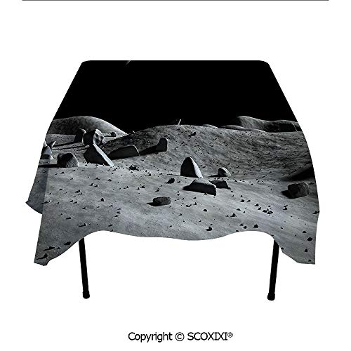 SCOXIXI Outdoors Cloth Tablecloth Washable Polyester Fabric,Earth Seen from The Moon Space Debris Vast Universe Day and Night Cycle Photography,W55XL55 Inches (Distance From Earth To Moon In Inches)