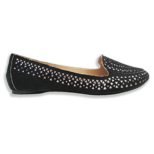 Olivia Miller Femmes Sophie Laser Cut W / Sous-couche Métallique Fumer Chaussures Noir