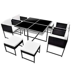 vidaXL 21piezas al aire libre muebles de jardín juego de mesa de comedor y sillas negro ratán