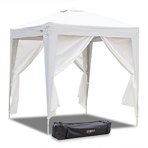 - VINGLI 6.6' x 6.6' Instant Folding EZ Pop up Canopy Tent with 4 Removable Panels, Upgraded Thicker Tube, Waterproof Sun Shade UV Protection Patio Gazebo Shed, Bonus Wheeled Carry Bag