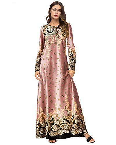 Medeshe Women's Loose Crewneck Gold Tribal Ethnic Print Casual Dress Party Maxi Dress (US 12/2XL, 04-Pink)