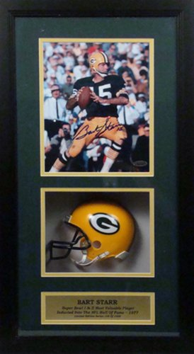 Encore Select 621-Starr Bart Starr Autographed Autographed Photograph with an 8 x 10 in. Photograph & Miniature Helmet in a 14 x 20 in. Deluxe Frame Shadow Box from Encore