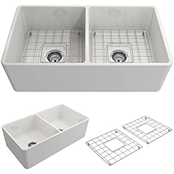 Classico Farmhouse Apron Front Fireclay 33 in. Double Bowl Kitchen Sink with Protective Bottom Grid and Strainer in White