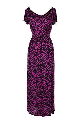 2LUV Plus Women's Short Sleeve Zebra Print Plus Size Summer Holiday Resort Beach Maxi Dress Purple & Black 1XL (Purple Zebra Dress)