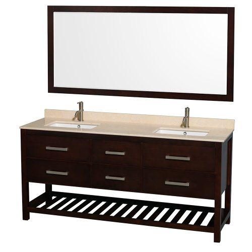 Wyndham Collection Natalie 72 inch Double Bathroom Vanity in Espresso, Ivory Marble Countertop, Undermount Square sinks, and 70 inch Mirror