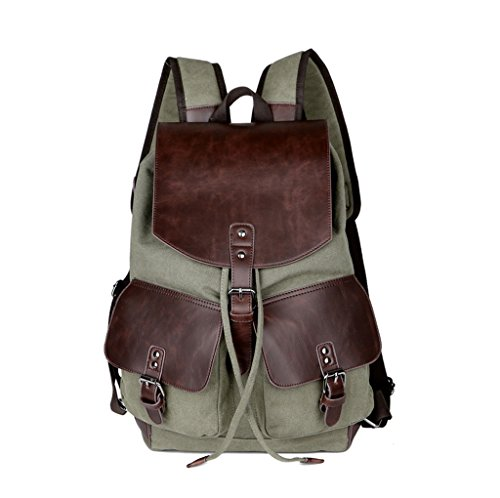Super moderne Vintage toile sac à dos mode étudiant ordinateur portable sac Bookbag école sac à bandoulière en cuir pour la randonnée, homme femme, vert