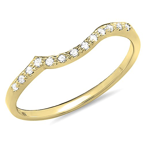 DazzlingRock Collection 0.10 Carat (ctw) 10K Yellow Gold Round Diamond Ladies Wedding Stackable Guard Band 1/10 CT (Size 7) by DazzlingRock Collection