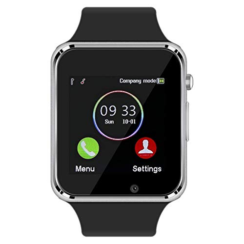 Qidoou Smart Watch, Bluetooth Smartwatch Compatible Android iOS, Fitness Tracker Step Calorie Sleep Sedentary Monitor Waterproof Touch Screen Support Call Message Music with SIM SD Slots (Silver2)