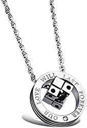 """3Aries Stainless Steel """"OUR LOVE WILL LAST FOREVER"""" Rose Gold/Black Dice in a Circle Pendant Women/Men Necklace"""
