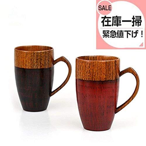 miyare(《미야레》) 천연 목제 컵 컵 소유 쥐기 쉬운컵 나무의 컵 내츄럴 찻종 일식 그릇 나무결 하트형 손잡이 대형 컵 2 색세트 (2X)