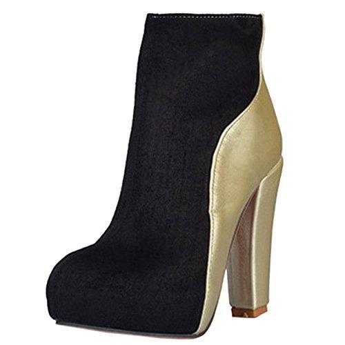 COOLCEPT Damen Mode Stiefel Zipper Black