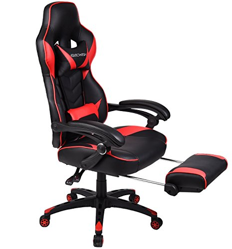 Ergonomic Computer Gaming Chair, Large Size PU Leather High Back Office Racing Chairs with Widen Thicken Seat and Retractable Footrest and Lumbar Support (Red)