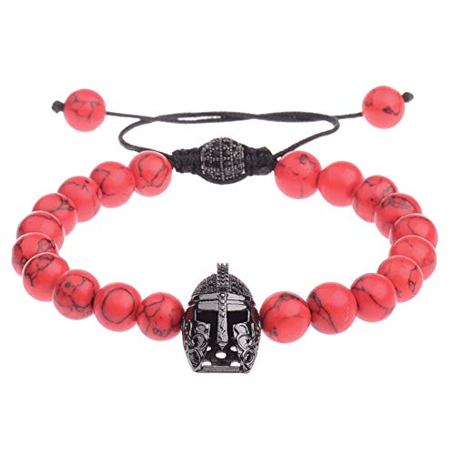 (ADKING Spartan Warrior Helmet Red Turquoise Hand Braided Zircon Retro Fashion Bracelet)