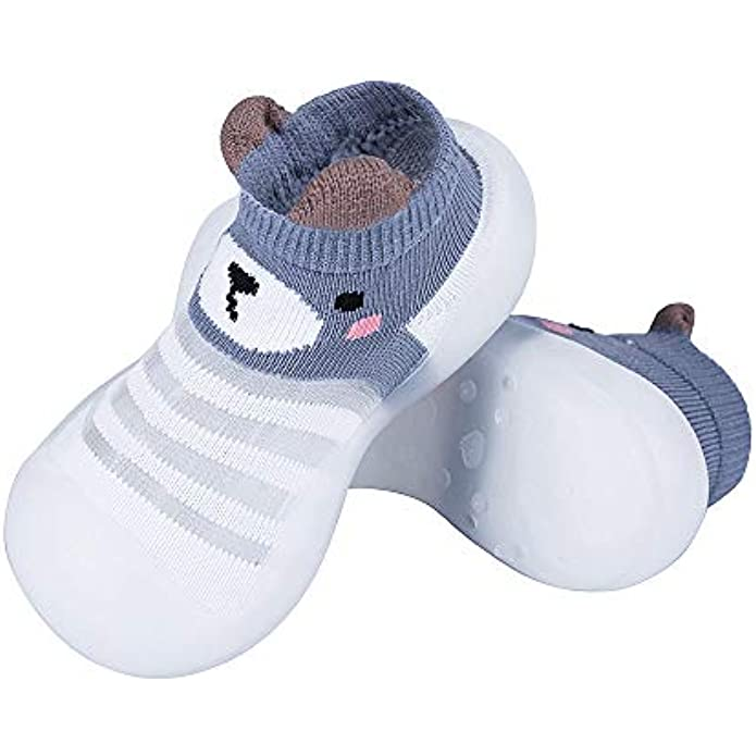 COUCOU! Baby Toddler Sock Shoes Non-Skid Slippers with Soft TPE Soles, Breathable Lightweight Slip-on Walk Socks Shoes for Infant Kids Girls Boys