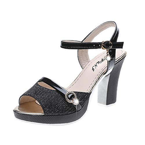 FengGa Fish Mourh Sandals Women High Heel Shoes Fashion Ankle Buckle Sandals Dress Party Summer Spring Shoes Black]()