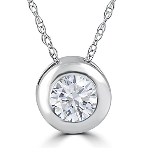 - 1/4Ct Natural Diamond Round Brilliant Cut Bezel Burnish Pendant Solitaire 14K Wg