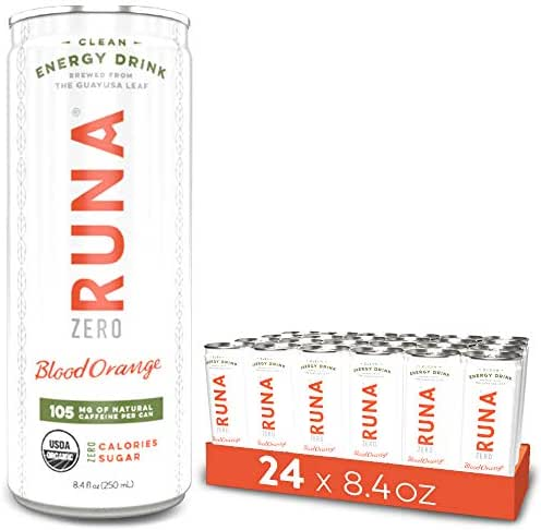 RUNA ZERO Organic Clean Energy Drink, Blood Orange | High Caffeine Coffee Alternative | Sustained Energy Boost with No Jitters | Calorie Free & Sugar Free, 8.4 oz (Pack of 24)