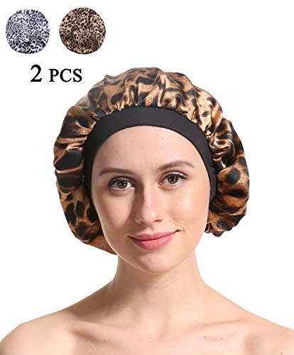 (Satin Silk Bonnet Sleep Cap - Printing Soft Wide Band S Women Night Hat For Curly Natural Hair Salon Silk Scarf Chemo Patient Slouch Slouchy)