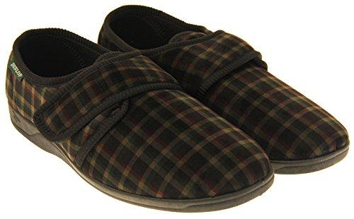 Footwear Studio Dunlop Herren Klettverschluss Hausschuhe Schwarz Velour
