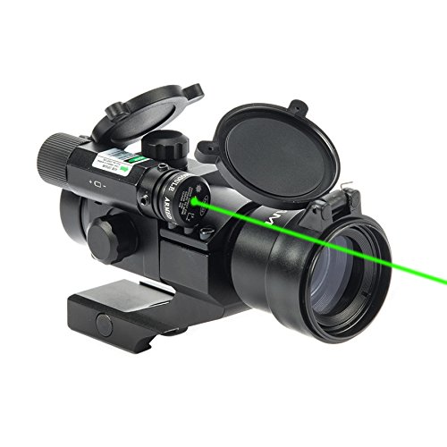 Hiram 1X30 Green & Red Dot Sight for Rifles & Shotguns with Green Laser, Picatinny Cantilever PEPR Mount by Hiram