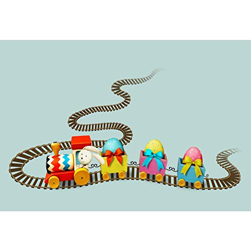 CSFOTO Easter Backdrop for Photography 6x4ft Easter Backdground Easter Painted Eggs Rabbit Train Track Kids Newborn Portrait Photo Studio Props Polyester ()