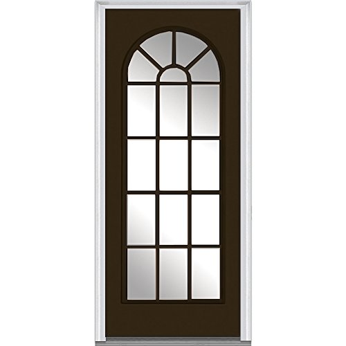 National Door Company ZZ04842R Steel, Painted, Right Hand Inswing, Exterior Prehung Door, Full Lite Round Top, Clear Glass, 32