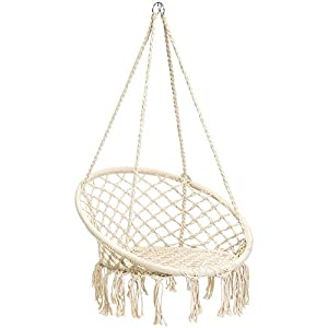 Best Choice Products Handwoven Cotton Macrame Hammock Hanging Chair Swing for Indoor & Outdoor Use w/Backrest – Beige