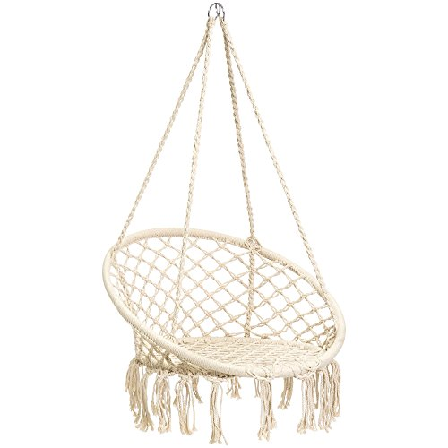 Best Choice Products Indoor/Outdoor Hanging Cotton Macrame Rope Hammock Lounge Swing Chair w/Fringe Tassels - Beige