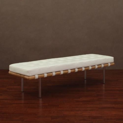 Offer Cheap Andalucia Modern White Leather Bench Large 60 Inch Sale