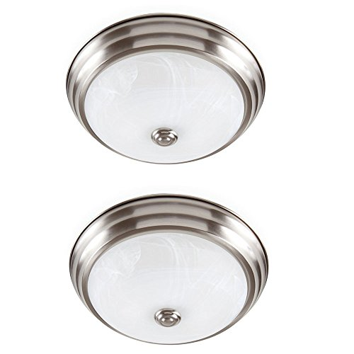 Designers Fountain EVLED502-35D-2 Brushed Nickel LED Flushmount with Alabaster Glass (2 Pack) by Designers Fountain
