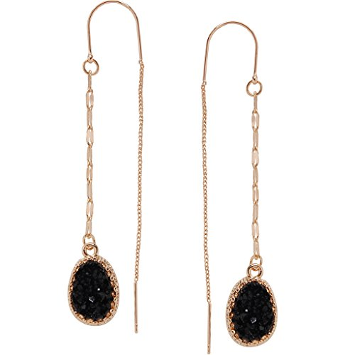 Humble Chic Simulated Druzy Chain Bar Threaders - Gold-Tone Long Sparkly Needle Drop Earrings for Women, Black, Simulated Onyx, Gold-Tone