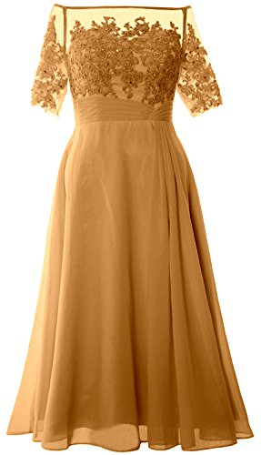Women Gold Off Gown Evening Shoulder Tea Macloth Of Dress Mother Length Bride Formal 4jLS3Aq5cR