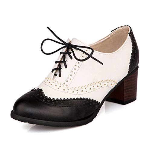100FIXEO Women Block Heel Wingtip Oxford Shoes (10 (B) M US, Black) -