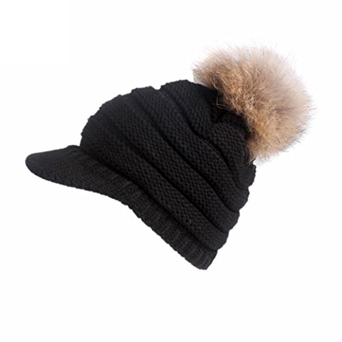 Pearl Plain Ball (Elogoog Women Winter Beanie Knit Hat Warm Wool Snow Ski Caps Berets With Visor (Black (Ball)))