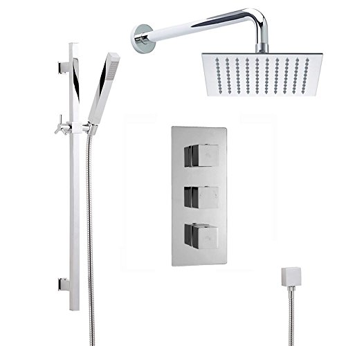 Triple Functions Handshower (Kubix Chrome Thermostatic Shower System With Triple Concealed Brass Valve, 8
