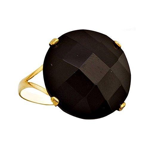 Bague or 18k ronde pierre noire [AA7145]