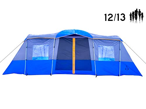 Americ Empire Large Family Tent for Camping with Rooms Fits 6 Queen Beds. Huge 14-13-12 Person Tent for Camping Waterproof. Big Multi Room Tent (21ft x 10ft). 3 Room Tent with Easy Assembly. Blue