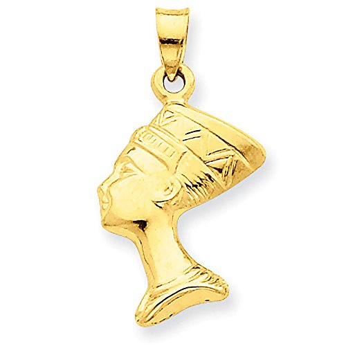 Jewelry Stores Network 14K Yellow Gold 3D Nefertiti Egyptian Head Pendant 26x14mm