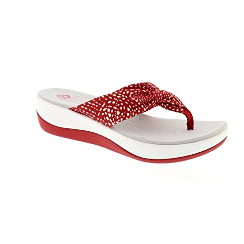 clarks-arla-glison-red-combi-textile-womens-sandals-95-us