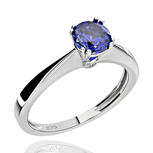 Sterling Silver 1.0 Ct Round Created Blue Sapphire & Cubic Zirconia Ring Sz ()